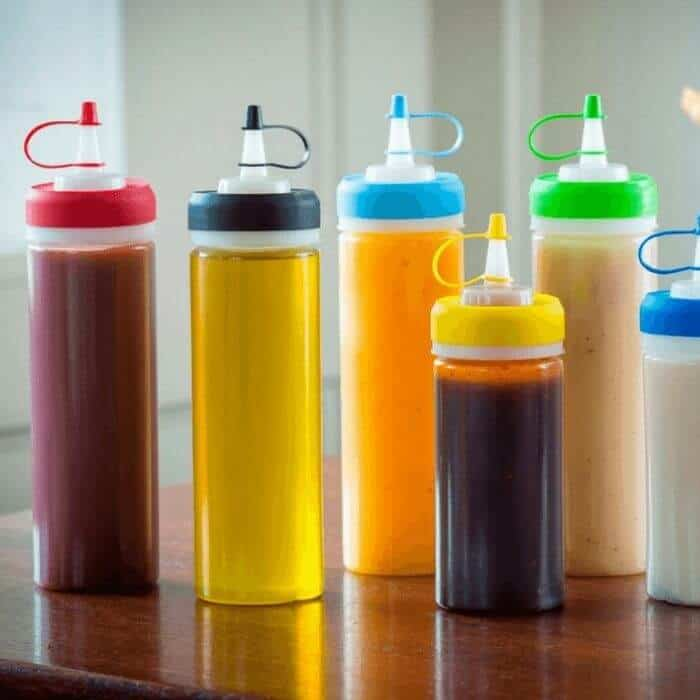 organize a fridge squeeze bottles