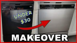 paint an old dishwasher with stainless steel paint